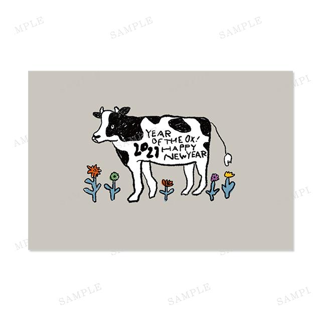 年賀状 牛 の イラスト 年賀状無料2021年mihoの年賀状